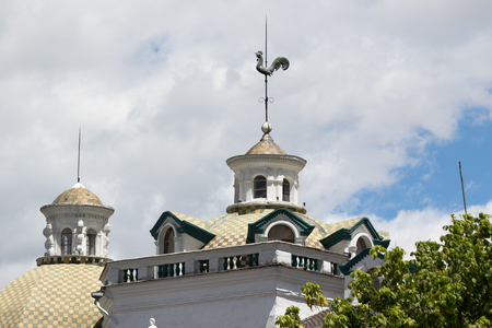 building structures: architectural detil of building rooftop decoration in QUito Ecuador