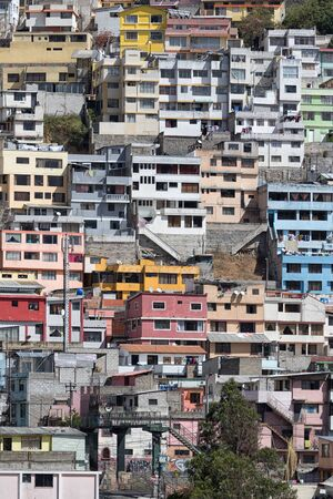 residential neighborhood: residential neighborhood in Quito Ecuador on a steep hill
