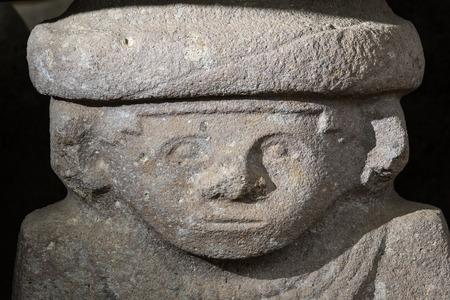 ancient pre-columbian statue closeup  in San Agustin Colombia in ALtos de los Idolos, San Agustin, Colombia