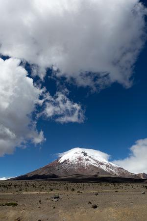 Chimborazo volcano with clouds in Ecuador