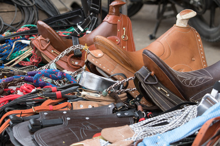 leather saddles in the market in Silvia Colombia