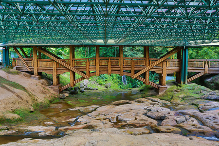 the protective roof and viewing bridge at Altos las Patas at San Agustin archaeological park, Colombia