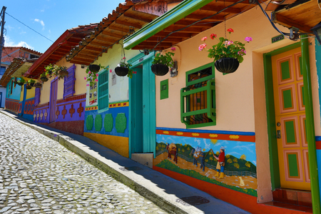 colourful houses in Guatape Colombia 에디토리얼