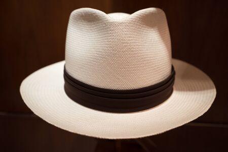 mens panama hat closeup details in Cuenca Ecuador
