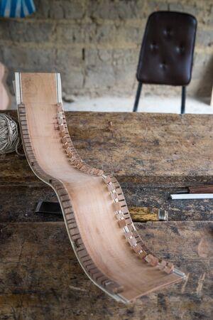 guitar part in luthiers shop in Ecuador