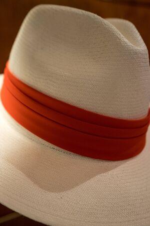 cuenca: mens panama hat closeup details in Cuenca Ecuador