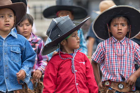 June 29, 2017 Cotacachi, Ecuador: kichwa indigenous children are an active part of the  Inti Raymi festival