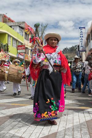 June 18, 2017 Pujili, Ecuador:  indigenous kichwa woman wearing a  traditional dress  at Corpus Christi parade Editorial