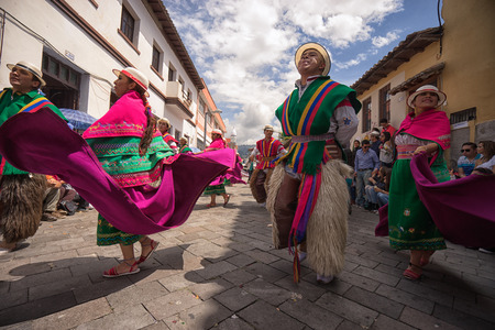 June 17, 2017 Pujili, Ecuador: being a dancer in the Corpus Christi parade is considered a honour and privilege by the indigenous population