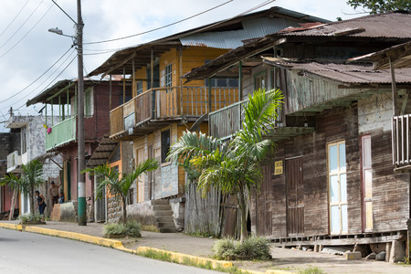 June 1, 2017 Cotundo, Ecuador: center area houses in the tropical town known for its petroglyphs