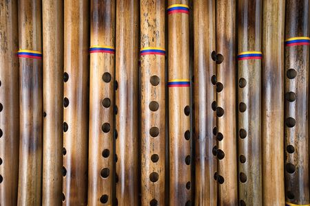 Andean flutes closeup in Ecuador Imagens