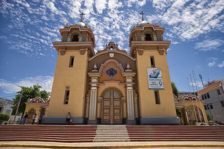 March 19, 2017 Tumbes, Peru: church in the centre of the tropical town known for the finest beaches of the country