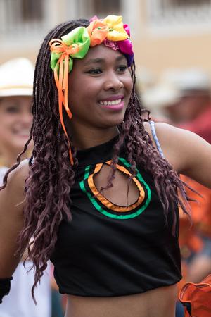 June 17, 2017 Pujili, Ecuador: female dancer closeup at the Corpus Christi annual parade