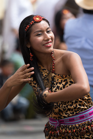 June 17, 2017 Pujili, Ecuador: indigenous female dancer at the Corpus Christi annual parade