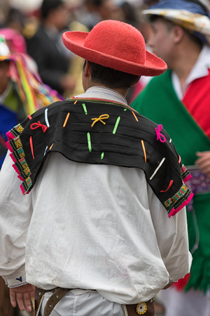 June 17, 2017 Pujili, Ecuador: male traditional clothing details at teh annual Corpus Christi festval in the Andean town Editorial