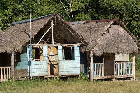 June 6, 2017 Misahualli, Ecuador: small habitation shacks in the Amazon area