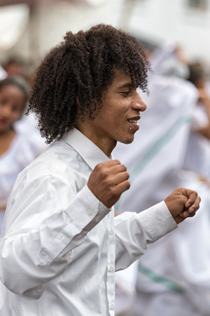 June 17, 2017 Pujili, Ecuador: young male dancer at Corpus Christi festival