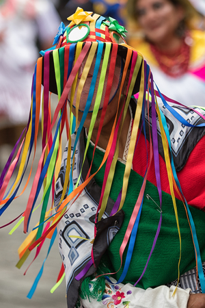 June 17, 2017 Pujili, Ecuador: traditional colourful kichwa man hat with colorful strings worn at the Corpus Christi annual parade in the Andean town