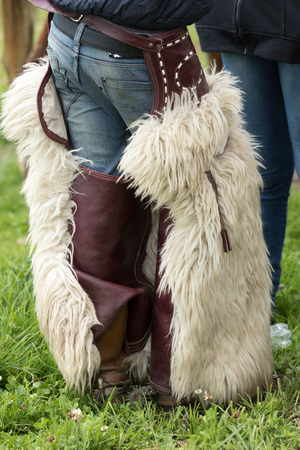June 3, 2017 Machachi, Ecuador: chaps worn by Andean cowboys are made of alpaca or sheep skin