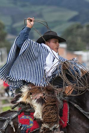 2017 年 6 月 3 日マチャチ、エクアドル: フィールドでカウボーイは乗馬で処理なげなわ伝統的服装