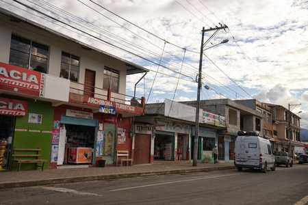 June 1, 2017 Archidona, Ecuador: commercial buildings in the centre of the small town in the Amazon area which was an important center for missionaries in the colonial times