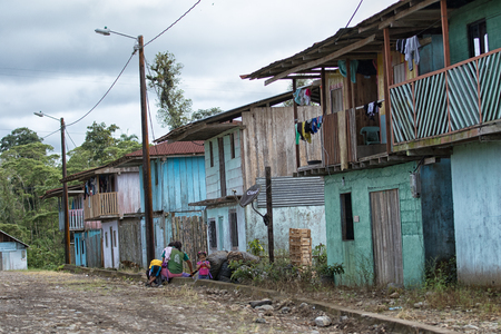 June 5, 2017 Lago Agrio, Ecuador: typical indigenous village in the oil production Amazon area of the country