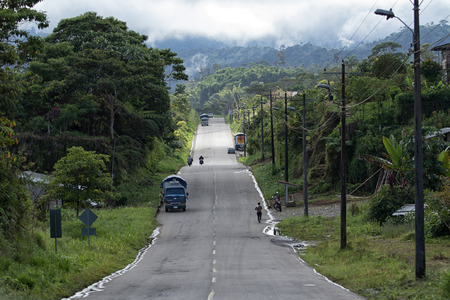 June 5, 2017 Lago Agrio, Ecuador: road through the jungle in the oil production region of the country Editorial