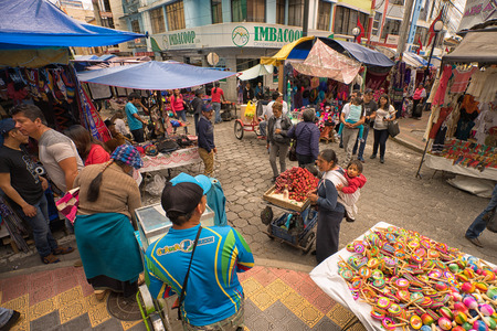 April 29, 2017 Otavalo, Ecuador: street view of the popular weekly artisan market held every Saturday in the indigenous town