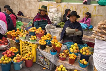 May 6, 2017 Otavalo, Ecuador: indigenous produce vendors in the Saturday market