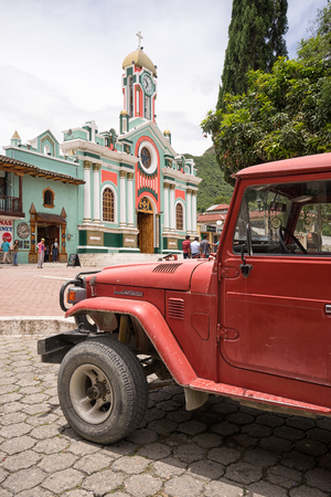 March 12, 2017 Vilcabamba, Ecuador: an old vehicle used for tourist transportation parked in the center of the popular destination town
