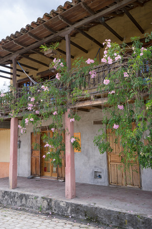 March 12, 2017 Vilcabamba, Ecuador: traditional colonial architecture is well represented in the popular tourist destination indigenous town in the Andes