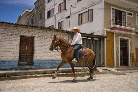 March 12, 2017 Vilcabamba, Ecuador: horsweback riding is a popular tourist activity in the isolated indigenous town Editorial