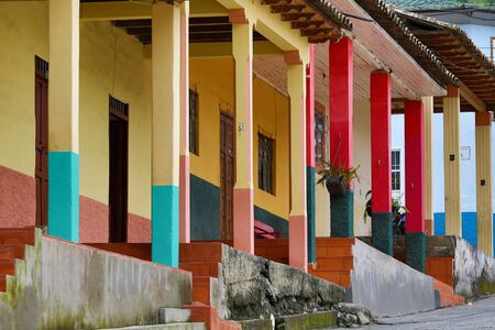 Vilcabamba, Ecuador: colourful colonial style architecture in the popular expat destination town