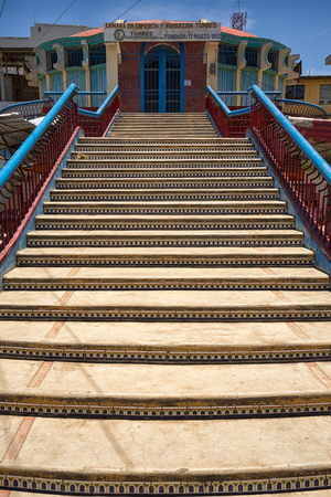 March 19, 2017 Tumbes, Peru: stairs of a street overpass in the center of  the tropical town