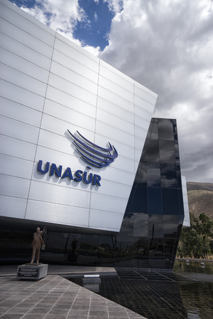 August 1, 2016 Quito, Ecuador: modern architecture closeup details of the UNASUR building which was built on the equator