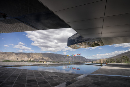 August 1, 2016 Quito, Ecuador: modern architecture of the UNASUR building which was built on the equator Редакционное