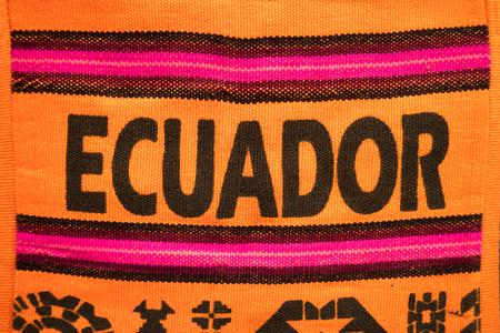 Ecuador written on a shoulder bag in the artisan market