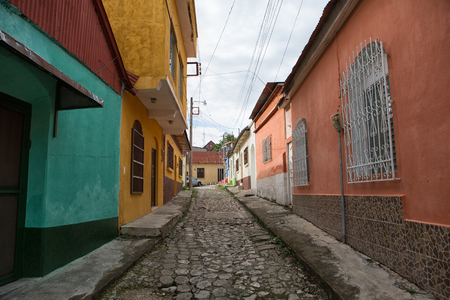 Flores, Guatemala: cobblestone street on the small tourist destination island