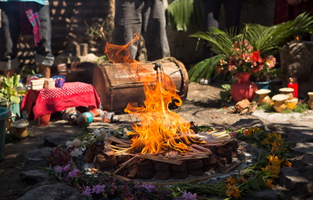 San Pedro la Laguna, Guatemala: fire burning at a Mayan shamanic rituals Stock Photo
