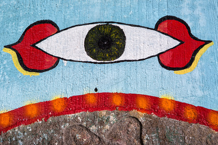 February 3, 2015 San Pedro la Laguna, Guatemala: religious sign painted inside a Mayan praying room Éditoriale