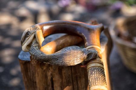 San Pedro la Laguna, Guatemala: carved cane used by Mayan shaman at a ritual