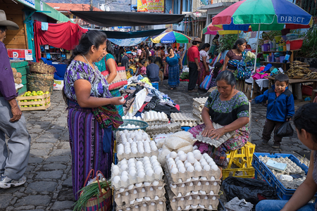 April 24, 2016 San  Pedro la Laguna, Guatemala: the small indigenous town lacks supermarkets, most of the produce is sold on the street during the Saturday farmers market