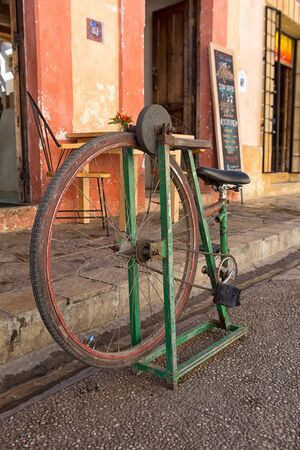 San Cristobal de las Casas, Mexico: foot propelled knife sharpener made of an old bycicle