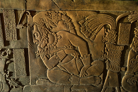 bas-relief carving at the Palenque ruins Chiapas Mexico Stock Photo