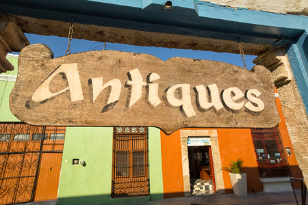 singn: April 21, 2014 Campeche, Mexico: antiques store sign in the colonial unesco world heritage town Editorial