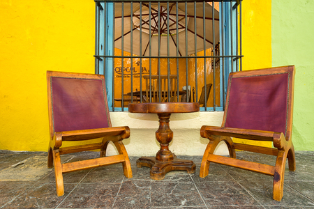 April 21, 2014 Campeche, Mexico: inviting restaurant patios popular with tourists aall through the UNESCO world heritage colonial historic centre