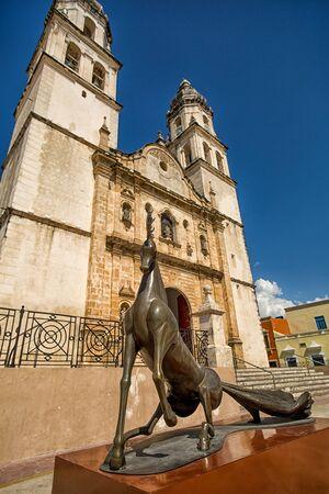 leonora: April 21, 2014 Campeche, Mexico: illustrative editorial of a Leonora Cerrington statue on the street of the UNESCO world hetitage colonial town Editorial