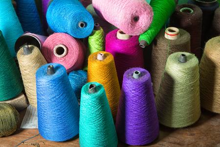 January 26, 2016 San Pedro la Laguna, Guatemala: illustrative editorial closeup details of threads used for creation of mayan traditional textiles