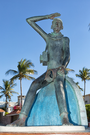 February 9, 2014 La PAz, Mexico: statue of Jacques Cousteau in Baja California, he conducted many expeditions on the sea of Cortez