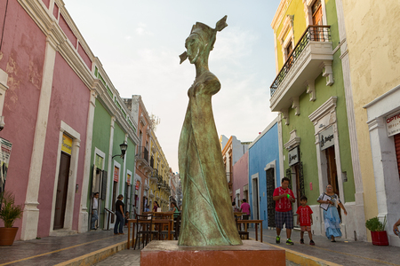 April 19, 2014 Campeche, Mexico: closeup details of a Leonore Carrington surrealist statue exhibited publicly on the street of the UNESCO world heritage colonial town Editorial